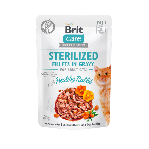 BRIT CARE CAT STERILIZED FILLETS IN GRAVY WITH HEALTHY RABBIT