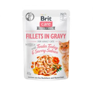 BRIT CARE CAT FILLETS IN GRAVY WITH TENDER TURKEY & SAVORY SALMON